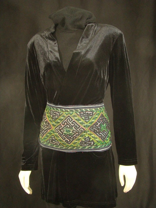Black Hmong Embroidered Belt