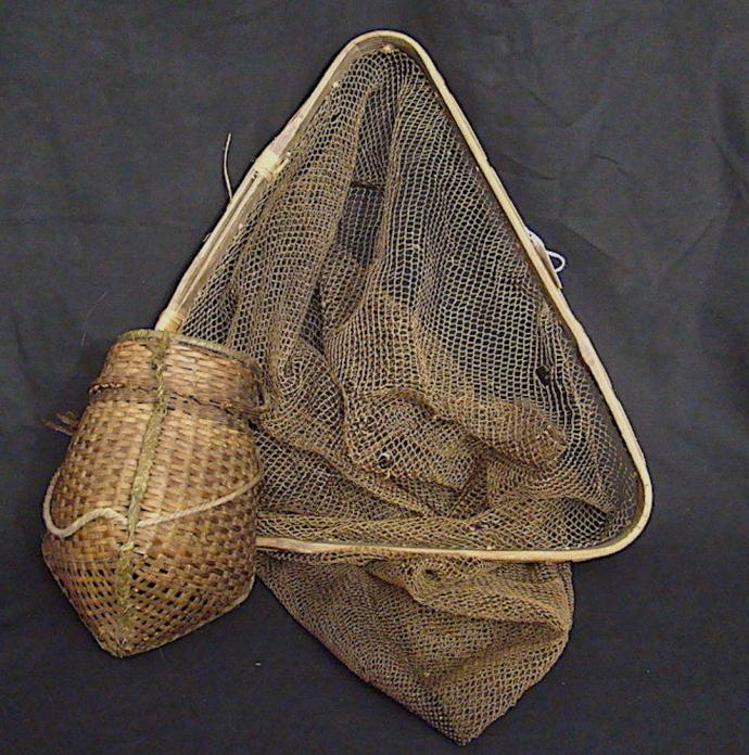 Hand-made fishing net with creel