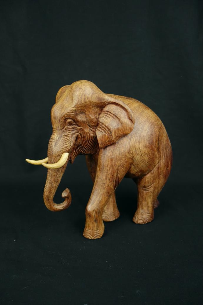 "Handcarved Elephant Statue (10"")"