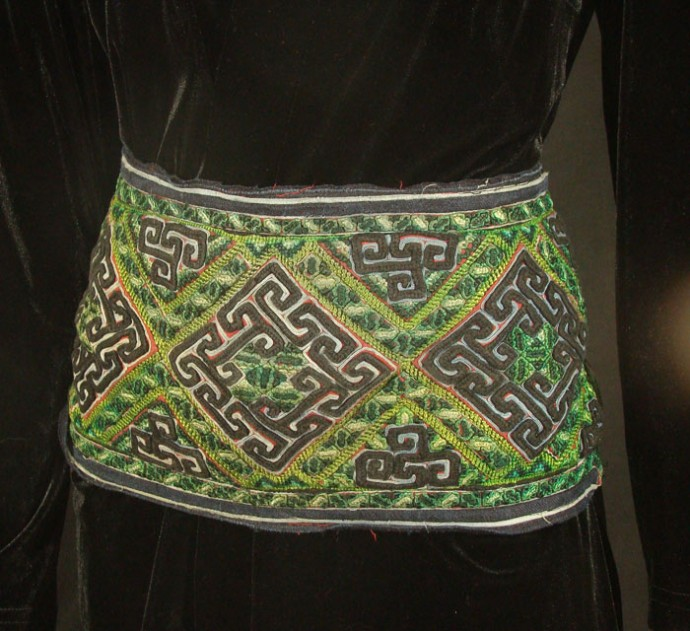 Black Hmong Embroidered Belt